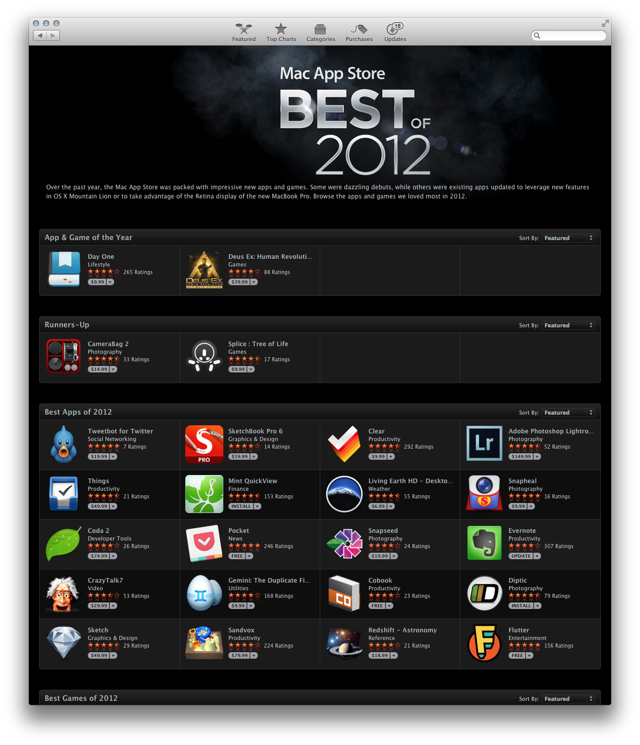 Mac App Store — Best of 2012